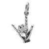 I love you sign language charm sterling silver 925 or gold pendant