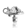Elf inside spotted toadstool charm sterling silver or gold pendant