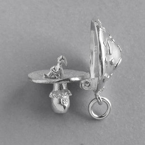 Elf inside spotted mushroom charm sterling silver or gold pendant