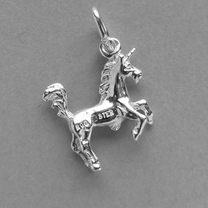 Unicorn charm sterling silver or gold pendant