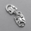 Theatre masks charm sterling silver or gold pendant