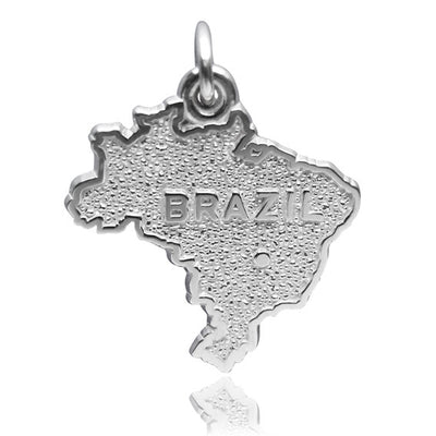 Brazil Map Charm Sterling Silver or Gold Pendant