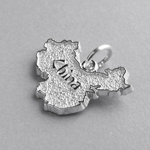 Chinese map charm sterling silver or gold pendant