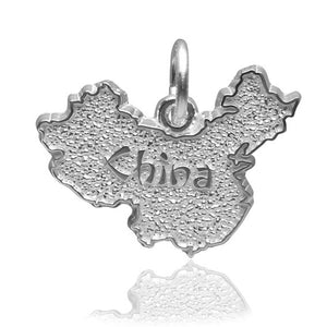 China map charm sterling silver or gold pendant