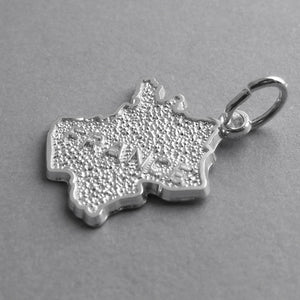 French map charm sterling silver or gold pendant