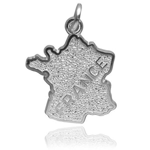 France map charm sterling silver or gold pendant