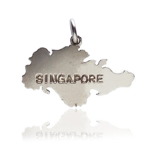 Vintage Sterling Silver Singapore Map Charm | Silver Star Charms