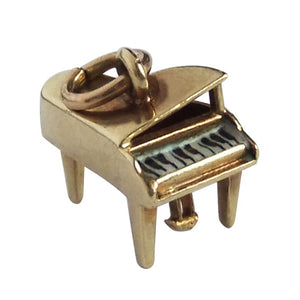 Vintage 14k Gold and enamel grand piano charm by Sloane & Co.