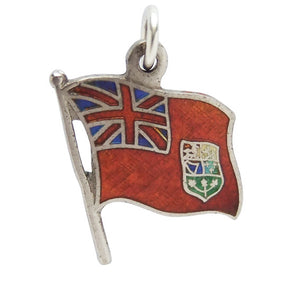 Vintage Canada Red Ensign Flag Charm Sterling Silver Pendant