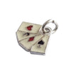 Vintage German Enamel Playing Cards Charm | Silver Star Charms