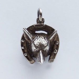 Vintage Sterling Silver Fox Head Horseshoe Charm | Silver Star Charms