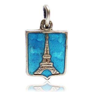 Eiffel Tower Paris France Travel Souvenir Charm Silver Enamel Pendant