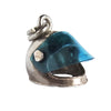 Vintage Silver crash helmet charm with blue visor