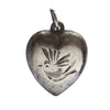 Vintage puffy heart bird charm sterling silver pendant