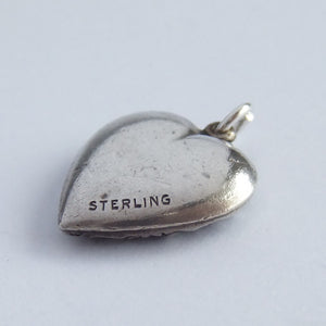 Sterling silver vintage ornate puffy heart charm pendant