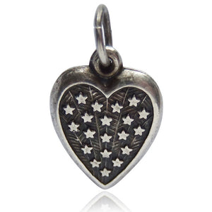 Sterling silver vintage puffy heart with stars charm pendant