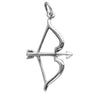 Bow and Arrow Charm Sterling Silver Archery Pendant | Silver Star Charms