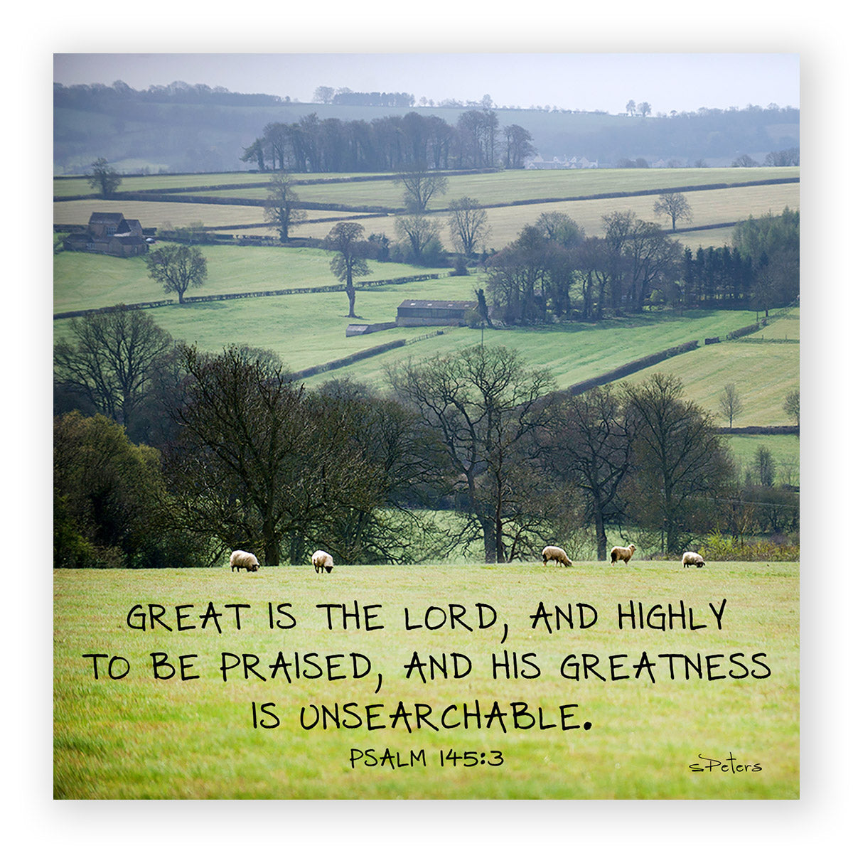 Psalm 145:03 - Cotswold Countryside - Mini Print