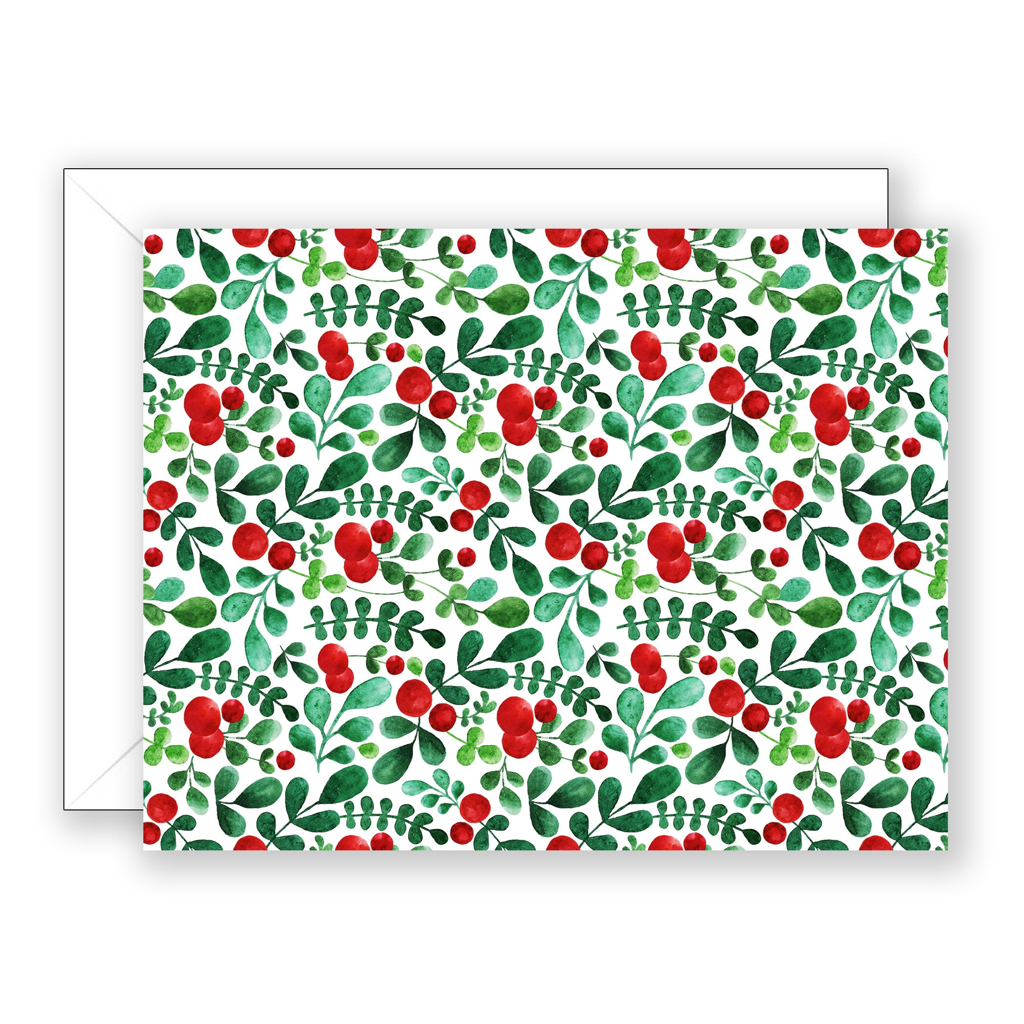 Red Berry Pattern Folded Boxed Notes