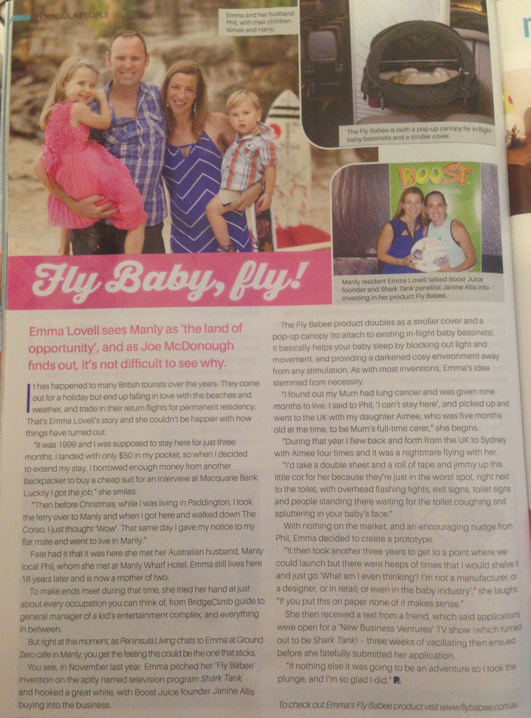Peninsula Living Fly Babee Emma Lovell Article