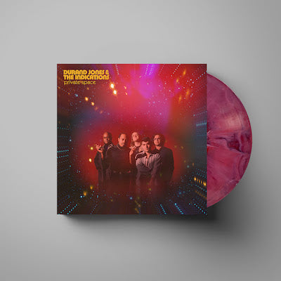 "Durand Jones & the Indications - Private Space album cover with ""Red Nebula"" colored vinyl record"