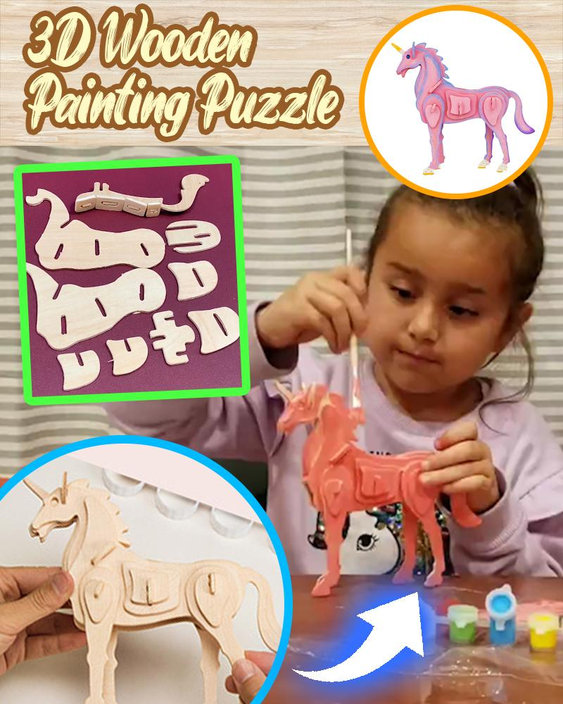 3D Wooden Painting Puzzle LuminousUnicorn
