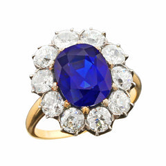 RAF Jewels 5 Carat Natural No Heat Classic™ Kashmir Sapphire and Diamond Cluster Victorian Gold Ring