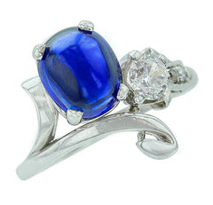 D'Deco's Antique Oval Blue Sapphire Cabochon and White Diamond Ring