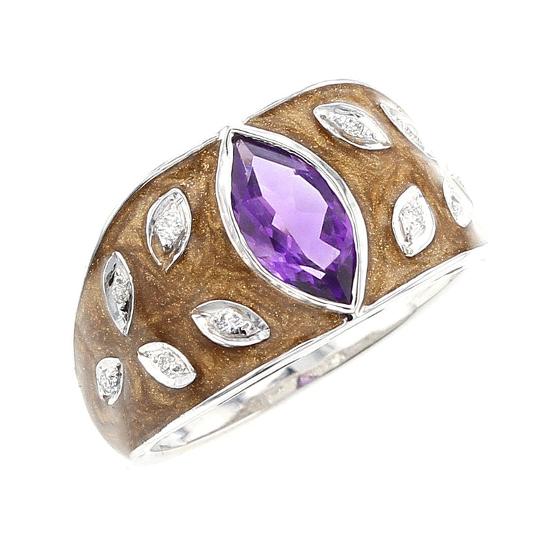 Brown Enamel Ring with Amethyst and Diamonds, 18K White Gold