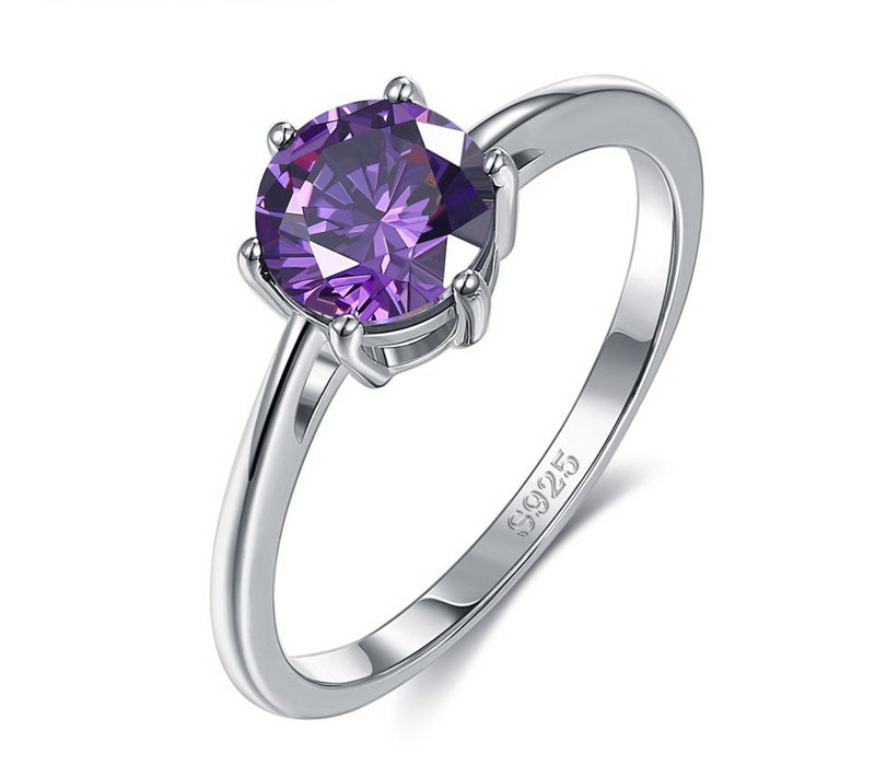 Round Solitaire Six Prong Amethyst Purple Cubic Zirconia Sterling Silver Ring