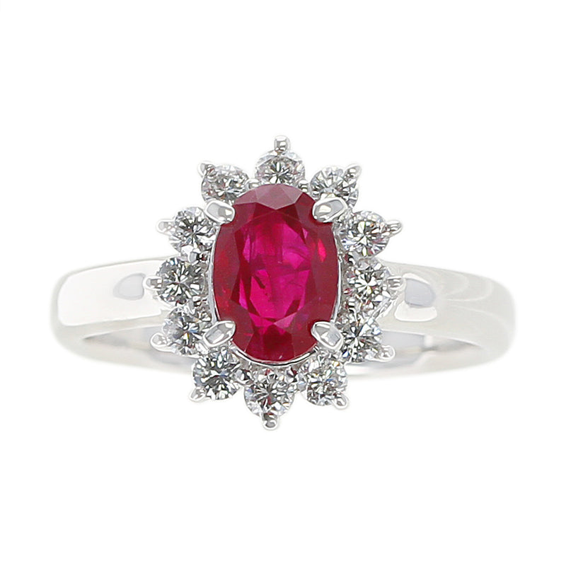 1.54 carat Oval Ruby Ring with Diamond Halo, Platinum