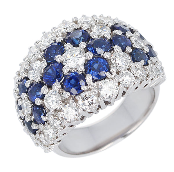 Three Floral Blue Sapphire and Diamond Cocktail Ring, Platinum