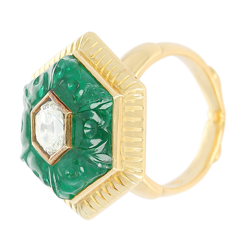 Emerald Carving Ring, Center Diamond Rose Cut, 22 Karat Yellow Gold