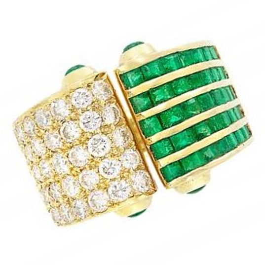 Emerald and Diamond Open Ring, 18K Yellow Gold