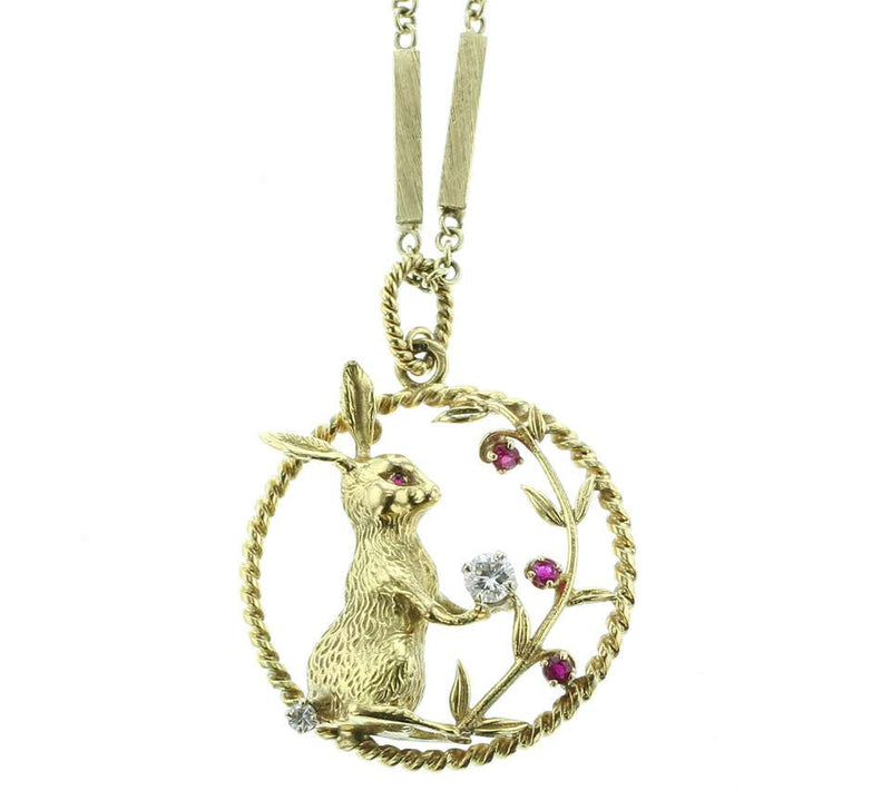 Diamond and Ruby Bunny Pendant and Neck Chain, 18 Karat Yellow Gold