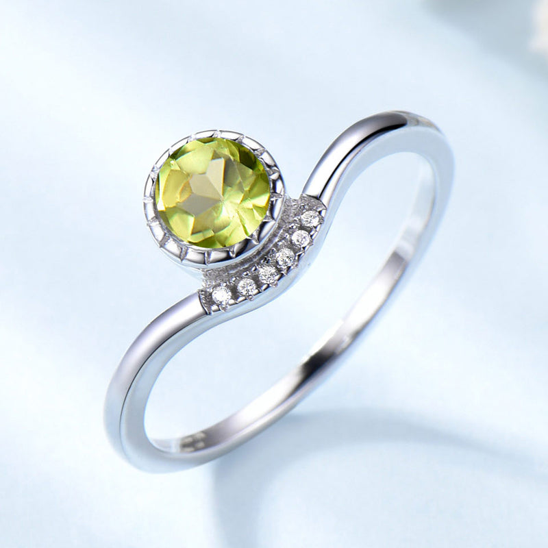 Round 5MM Peridot Green Cubic Zirconia Sterling Silver Ring
