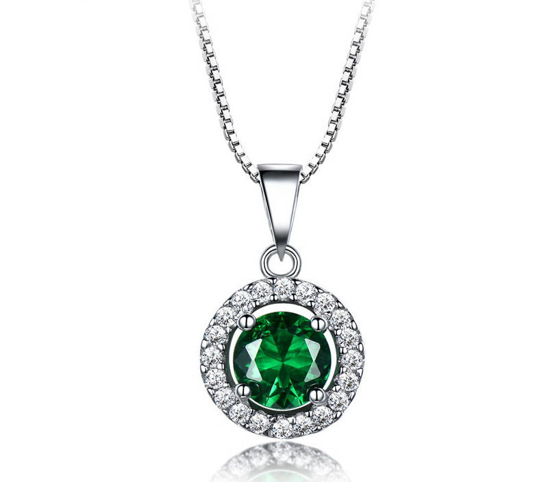 Round Halo Emerald Green Cubic Zirconia Pendant Necklace, Sterling Silver