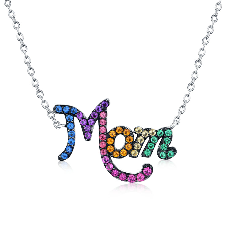 MOM Rainbow Cubic Zirconia Pendant Necklace, Sterling Silver