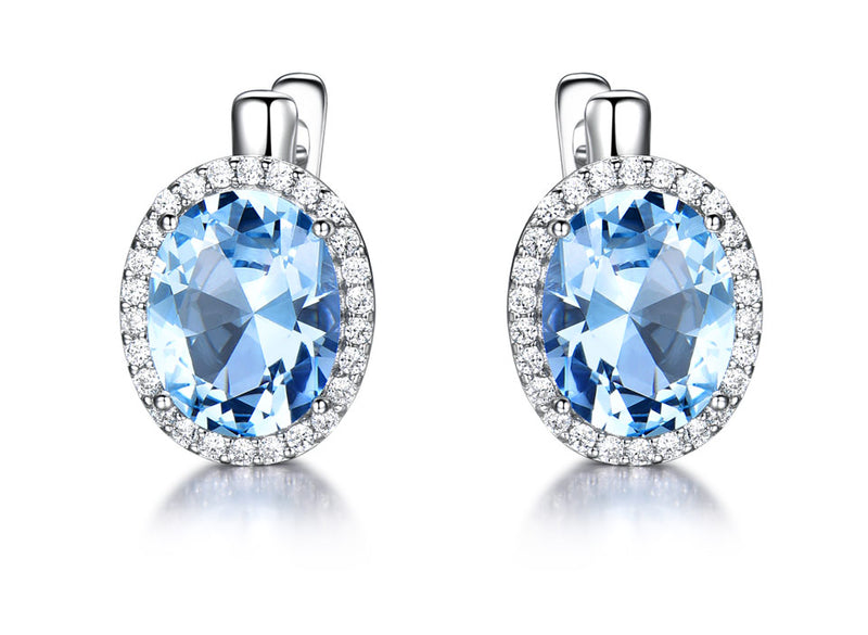 Oval Aquamarine Sky Blue Cubic Zirconia Sterling Silver Earrings