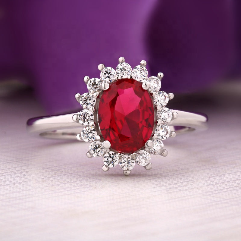 Ruby Red Oval Cubic Zirconia Sterling Silver Ring