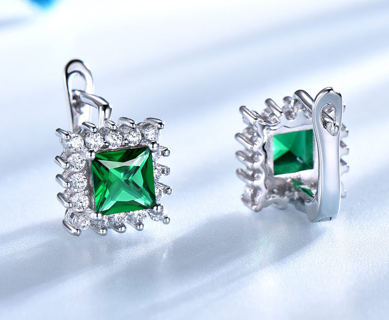 Square Emerald Green Cubic Zirconia Sterling Silver Earrings