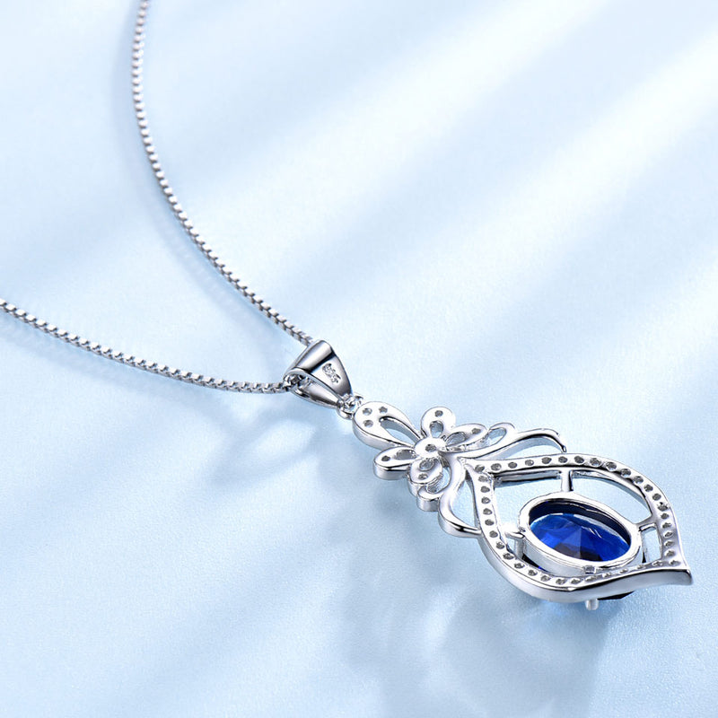 Sapphire Blue Cubic Zirconia Pendant Necklace, Sterling Silver