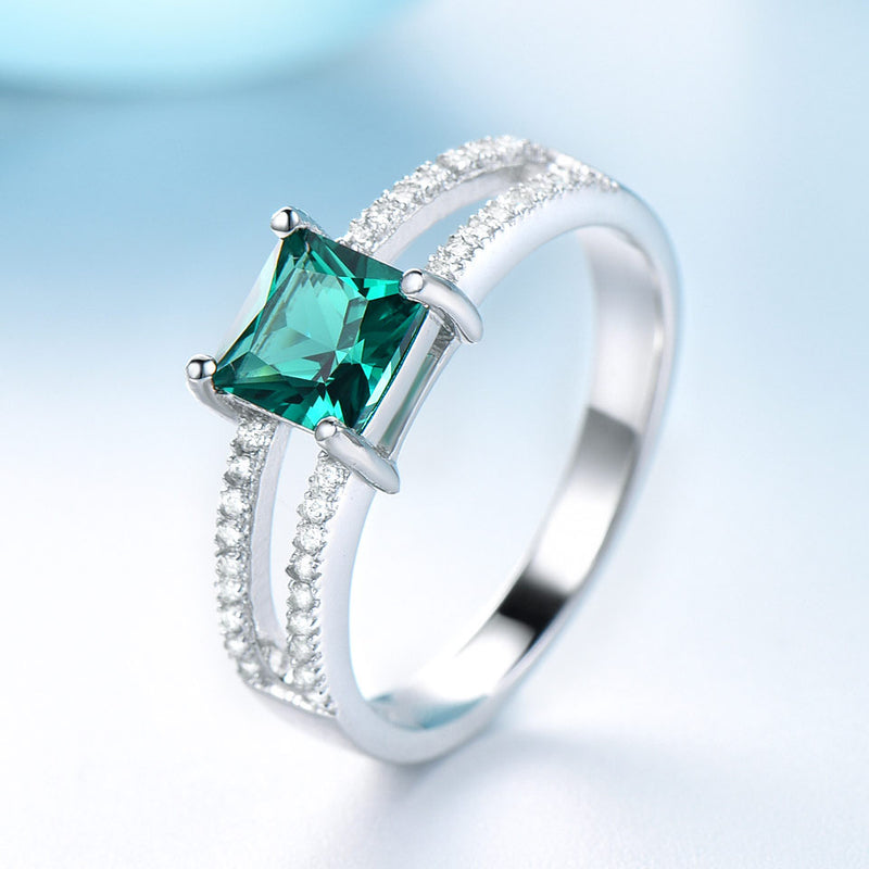 Square Emerald Green Cubic Zirconia Two Row Mounting Sterling Silver Ring
