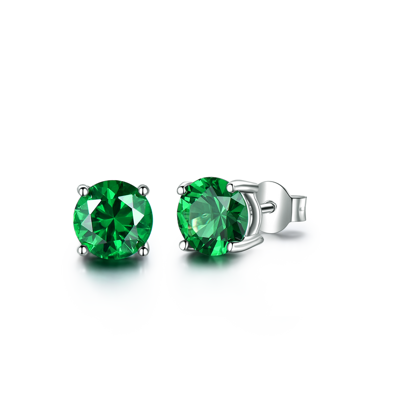 Round Emerald Green Cubic Zirconia Sterling Silver Earrings