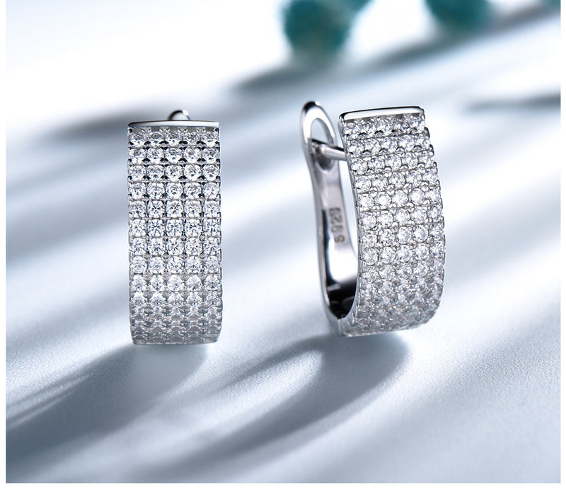 Wide White Cubic Zirconia Sterling Silver Hoop Earrings