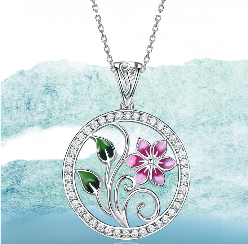 Pink Flower with Leaves Enamel Pendant Necklace, Sterling Silver