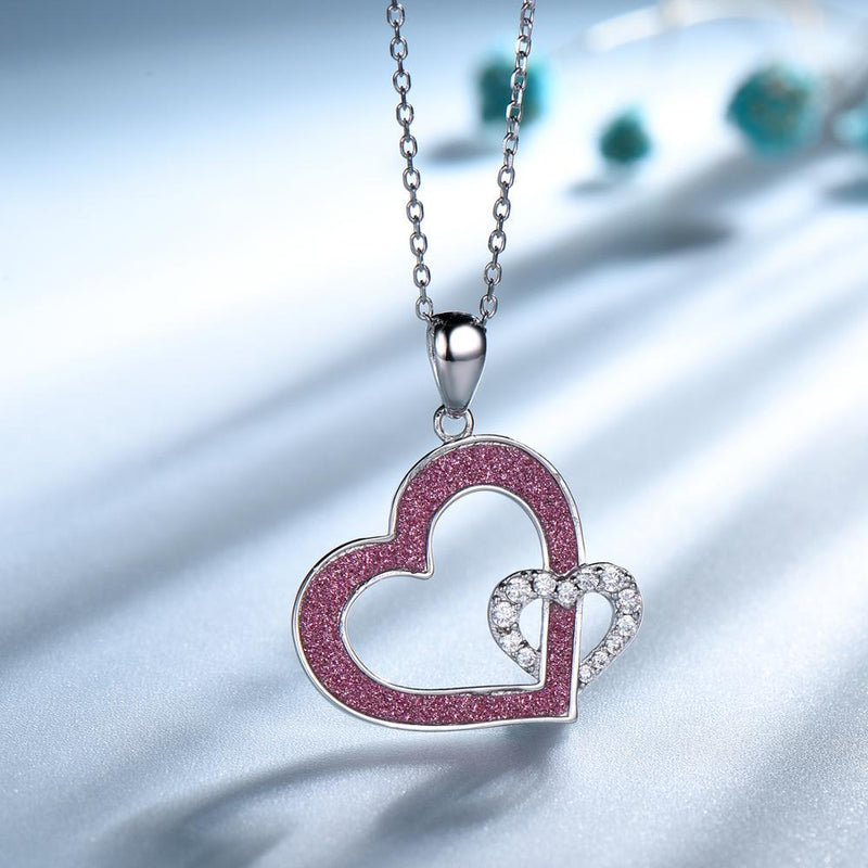 Red and White Double Heart Cubic Zirconia Pendant Necklace, Sterling Silver