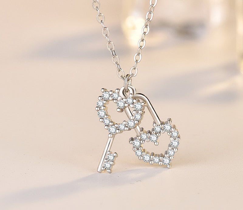 Heart Lock Key Cubic Zirconia Pendant Necklace, Sterling Silver