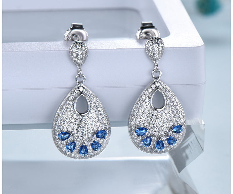 Dangling Cocktail Sapphire Blue Cubic Zirconia Sterling Silver Earrings
