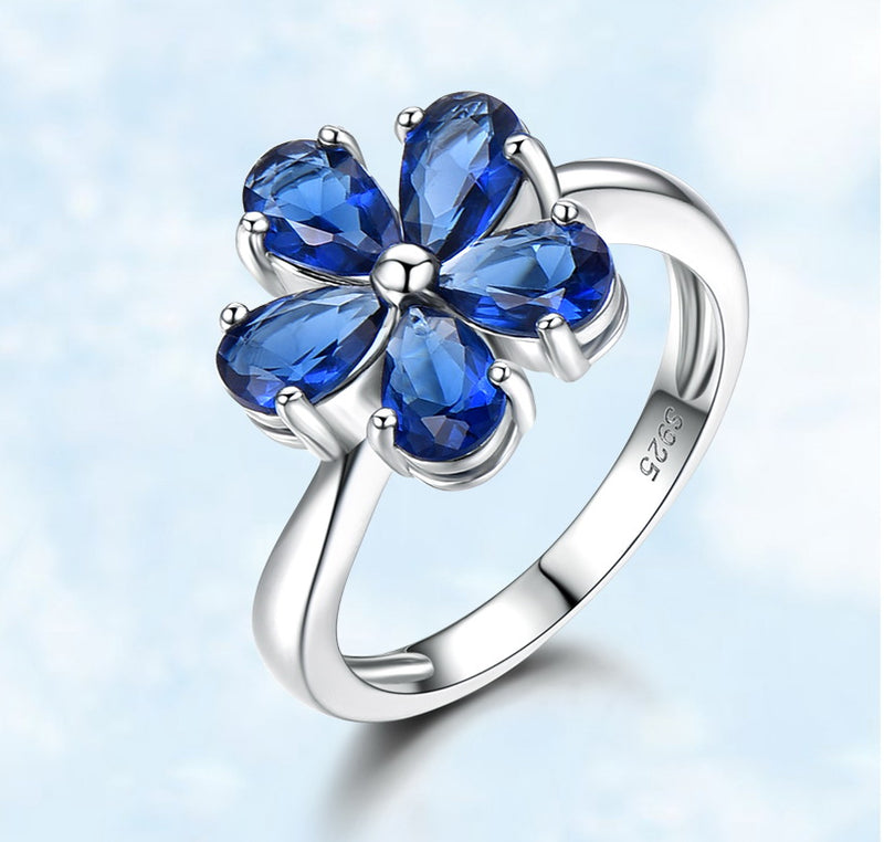 Pear Shape Sapphire Blue Cubic Zirconia Floral Sterling Silver Ring
